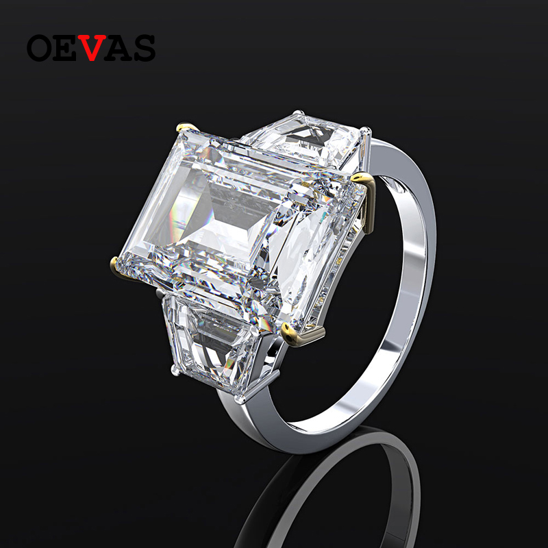 OEVAS Vintage 100% 925 Sterling Silver Created Moissanite Gemstone Wedding Engagement Couple Ring Party Jewelry Gifts Wholesale