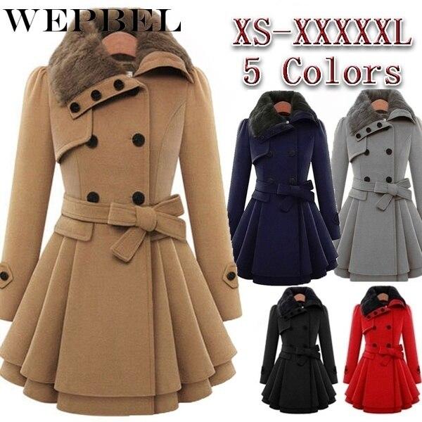 WEPBEL Womens Vintage Woolen Coat Double Buckle Trench Coats Lady Fur Collar Peacoat Winter Coat Jackets Outwear Plus Size 5XL