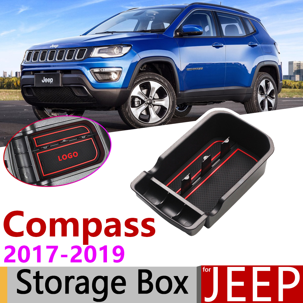 for <font><b>Jeep</b></font> <font><b>Compass</b></font> 2017 2018 <font><b>2019</b></font> MK2 2nd Gen of Central Armrest Box Storage Internal Stowing Tidying Car Organizer <font><b>Accessories</b></font> image