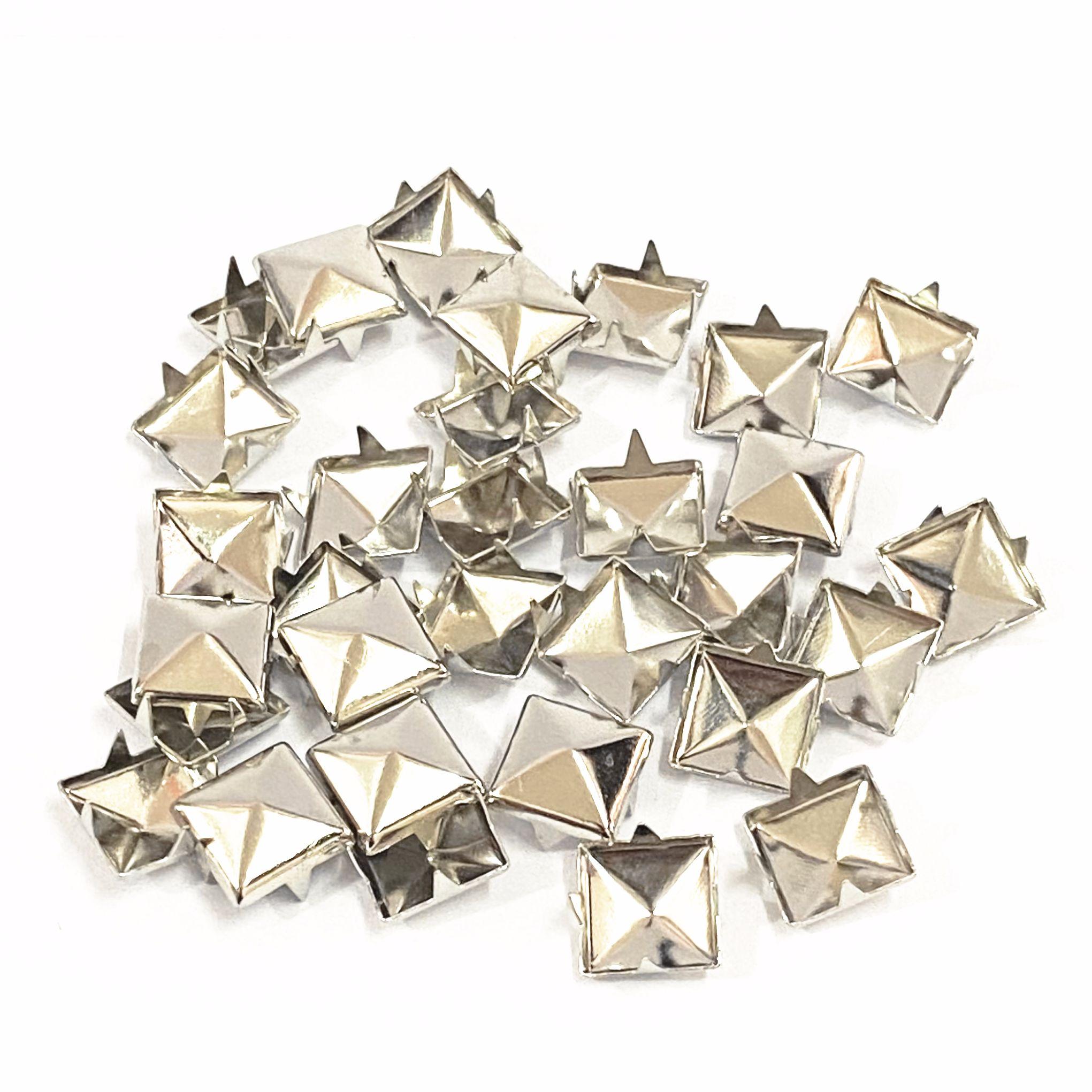 100 pièces de 6-12mm 4-griffe rivet carré pyramide/clou en métal conique rivet vêtements/chaussures/sacs/clous en cuir sur punk bricolage