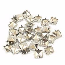 100 peças de 6-12mm 4-claw rivet praça pirâmide/metal prego afilado rebite roupas/sapatos/sacos/unhas de couro no punk diy
