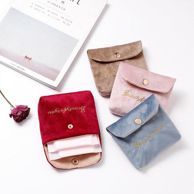 женская мягкая бархатная косметичка с застежкой сумка для губной фотография