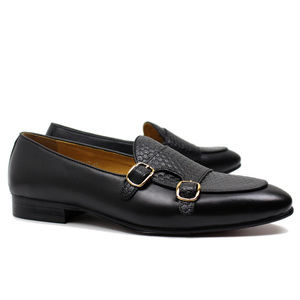 Image 5 - FELIX CHU Autumn Mens Leather Loafers Gentleman Wedding Party Casual Slip On Formal Shoes Black Brown Monk Strap Men Dress Shoes