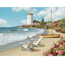 Full Square/Round Drill 5D DIY Diamond Painting beach Lighthouse 3D Rhinestone Embroidery Cross Stitch Home Decor