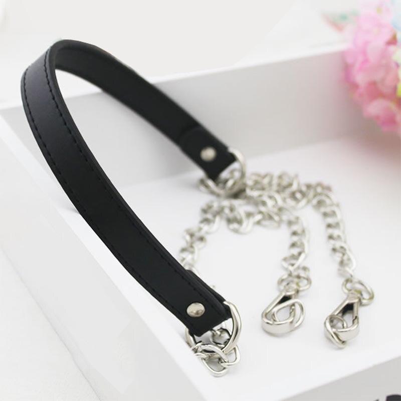 120cm Metal Chain PU Leather Chain Strap Bag DIY Replacement Chain for Handbag Shoulder Bag Handles Bag Accessories
