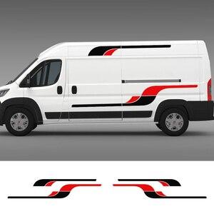 Длинные боковые наклейки для автомобилей Fiat Ducato L1H1 L2H1 L2H2 L3H2 L4H2 L4H3, автомобильные наклейки, виниловая пленка, аксессуары, 4 шт.