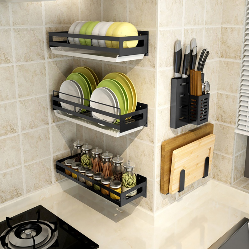 Free Of Punch Kitchen Shelving Wall Hanging Knife Rack Cutting Board Dishes Seasoning Black Storage Rack