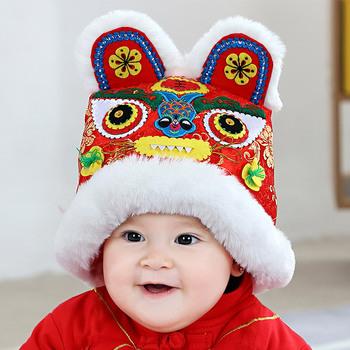 2021 nowy Hand Made noworodka czapka dla niemowląt tradycyjny chiński tygrys czapka nowy rok urodziny nosić niemowlę chłopiec dziewczyna zima nowy rok kapelusze tanie i dobre opinie Poliester CN (pochodzenie) Chłopcy Zestawy