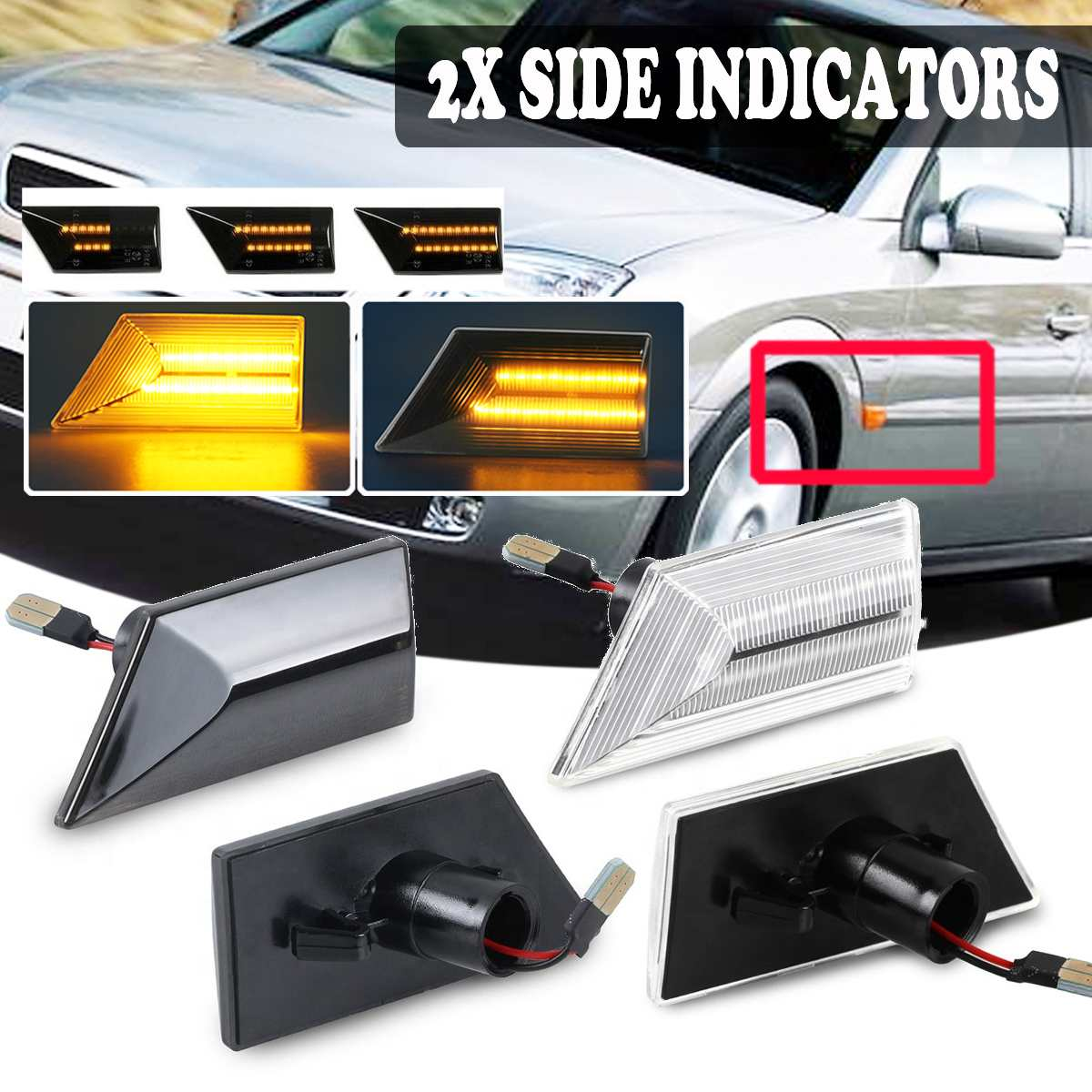 Pair 12V Flowing Turn Signal Light Dynamic LED Side Marker Side Repeater Light Blinker For Vectra C 02-08 For Signum 03-08