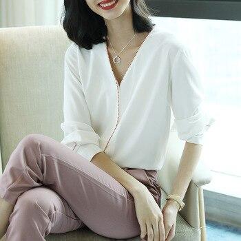 Белая шифоновая шелковая офисная блузка с v образным вырезом, женские рубашки и блузки 2020, летние элегантные сексуальные свободные рубашки