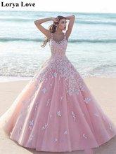 Женское бальное платье принцессы розовое Тюлевое длинное для