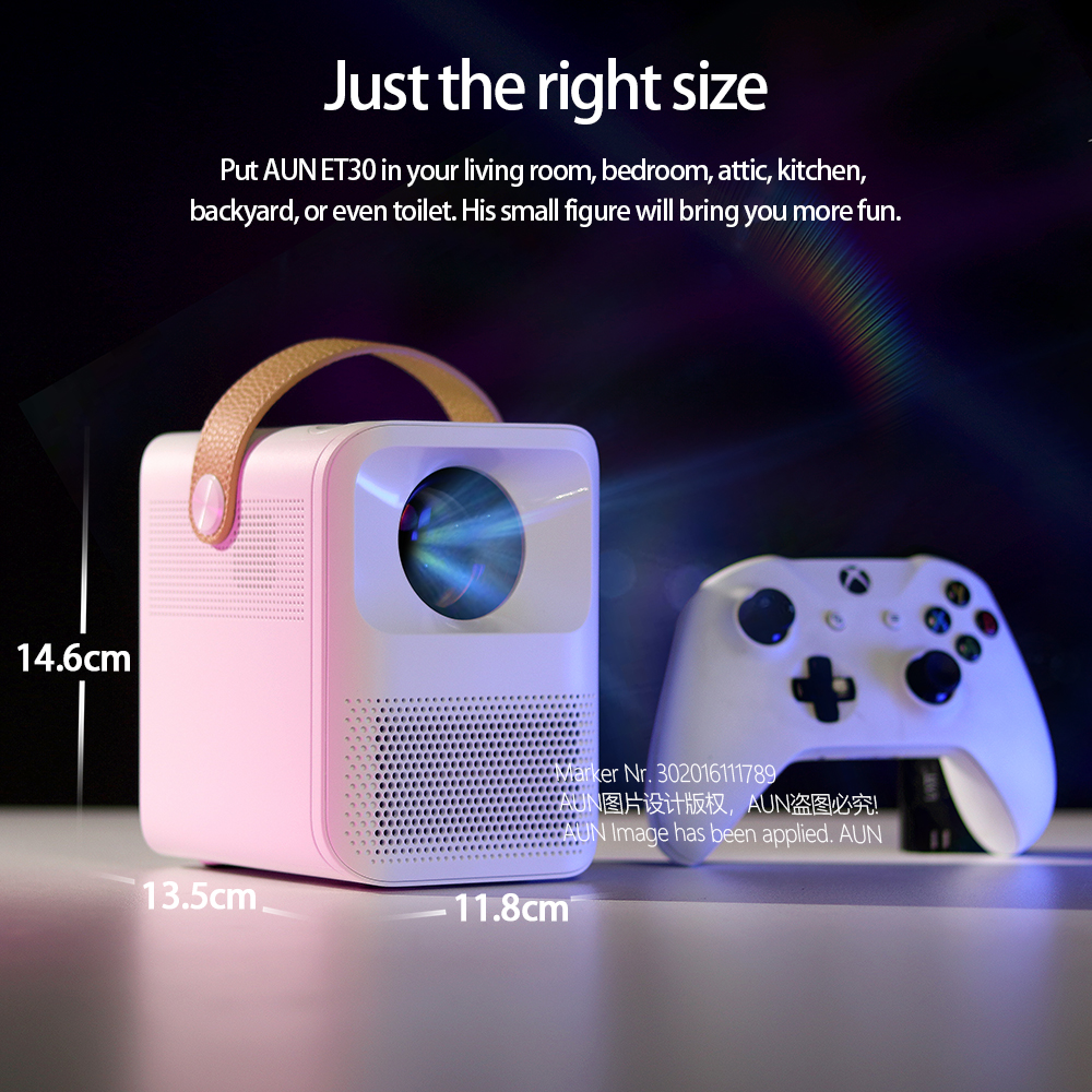 Aun completo hd projetor et30 opcional android 7800mah crianças portátil casa cinema mini led beamer 1920x1080p 4k vídeo via hdmi-3