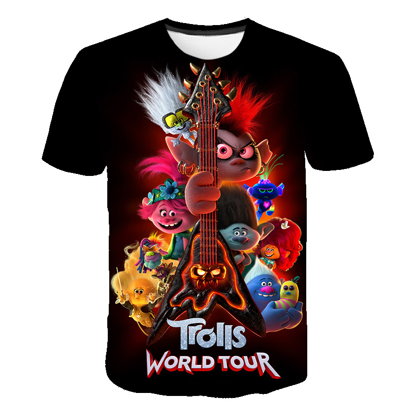 3D Boys TROLLS WORLD TOURsonic Print Girls Funny T-shirts Costume Children Summer Clothing Kids Clothes Hairy Elf Baby T Shirt