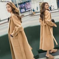 Autumn/winter New Women's Casual wool blend trench coat oversize Cashmere Coats Cardigan Long coat with belt