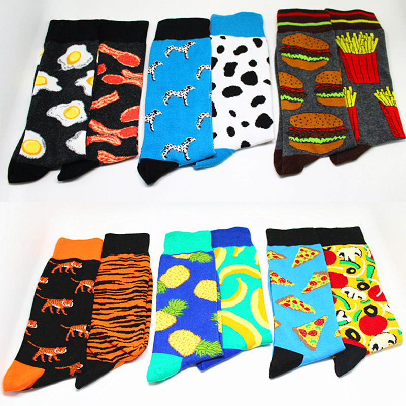 1 Pair Men Socks Left And Right Feet Different Fashion Male Socks Skateboard Style Cotton Socks Trend In The Tube Novelty Funny