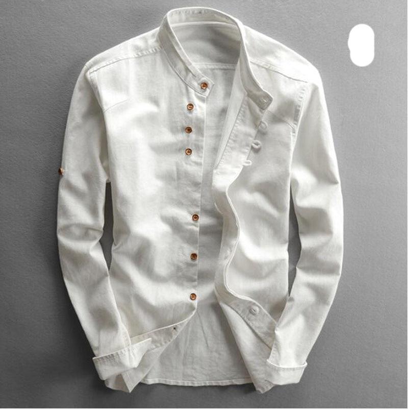Men's Cotton Linen Shirts Long Sleeve Men Casual Slim Mandarin Collar Shirts High Quality Summer Beach Shirt plus size 6xl 7