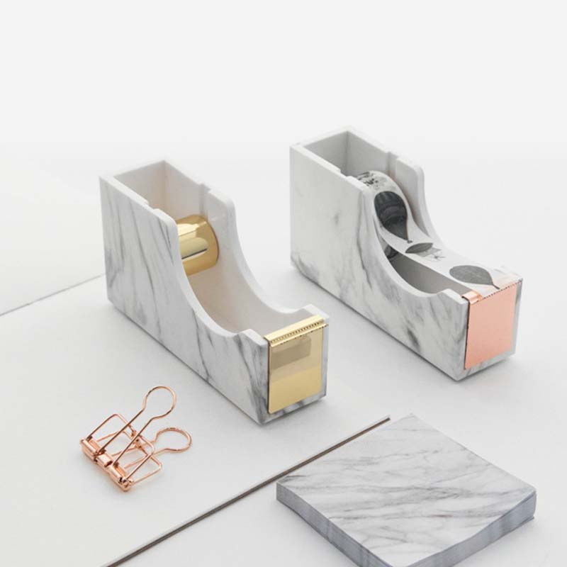 Design de moda por atacado textura de mármore núcleo de metal washi dispensador de fita adesiva cortador titular escritório escolar uso doméstico
