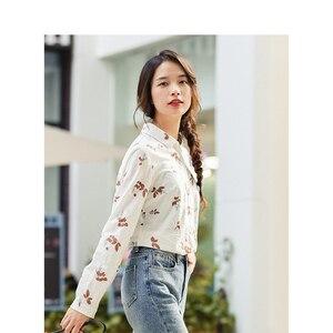 Image 3 - Xã Inman Mùa Đông 100% Cotton Cổ Gập Văn Học Hoa Dài Tay Cho Nữ Áo