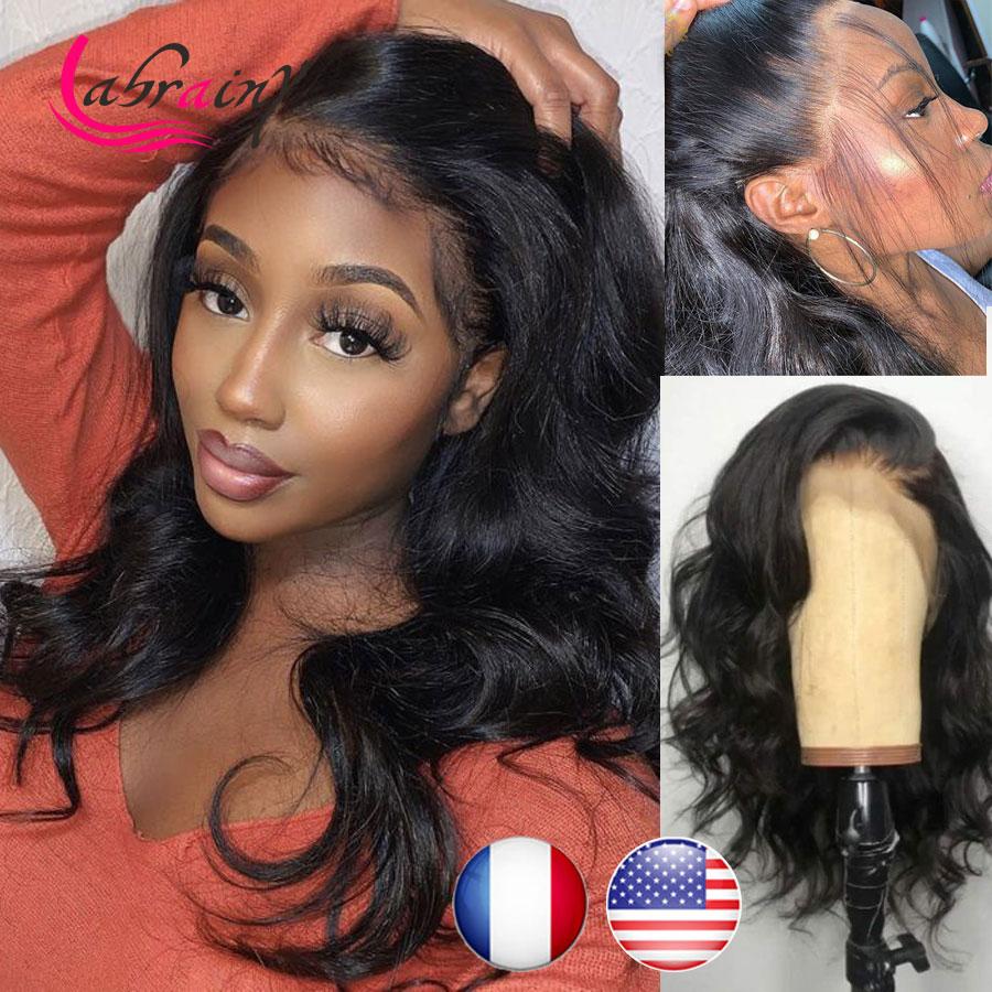13X6 телесная волна HD Прозрачная Кружевная передняя часть парик из человеческих волос Детские волосы без клея предварительно выщипанный бра...