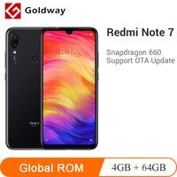 Мобильный телефон Xiaomi Redmi Note 7 с глобальной прошивкой, 4 Гб ОЗУ, 64 Гб ПЗУ, Восьмиядерный процессор Snapdragon 660, 48MP, две камеры 4000 мАч, полный экран 6,3...