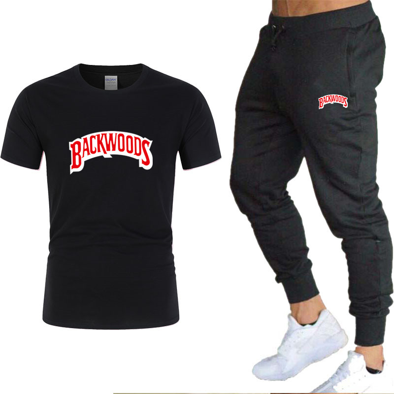 Men's 2020 New T-shirt + Pants Two-piece Sportswear For Men And Women New Fashion Printing Suit Sportswear Gym Fitness Pants