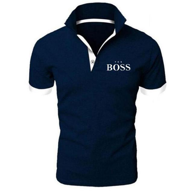 Summer sports and leisure men's fashion printed polo shirt boss boutique casual business short-sleeved cotton lapel jacket 5