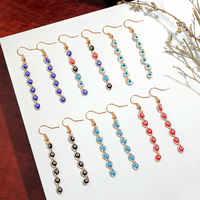 Flatfoosie 2020 New Design Chain Evil Eyes Drop Earrings For Women Long Multicolor Eyes Statement Earrings Party Fashion Jewelry