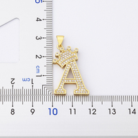 New Luxury Copper Zircon A-Z Crown Alphabet Pendant Chain Necklace Punk Hip-Hop Style Fashion Woman Man Initial Name Jewelry 2