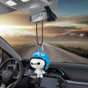 Image 3 - 자동차 펜던트 귀여운 헬멧 Baymax 로봇 인형 장식품을 매달려 자동차 백미러 서스펜션 장식 액세서리 선물