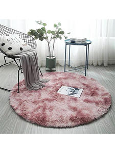 Round Carpet Rugs-Fur-Mats Colorful Rug Bedroom Living-Room Pink Gradient Ins-Style Nordic