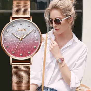 цена на sunkta Women Watches Top Brand Luxury Female Fashion Rose Gold Purple Watch Casual Stainless Steel Wristwatch Relogio Feminino