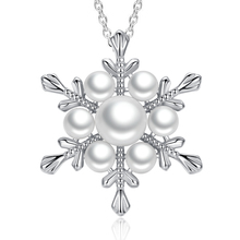 Snow Flower Pearl Pendant Necklace 45cm White 925 Sterling Silver Fashion Jewelry 2019 New Products