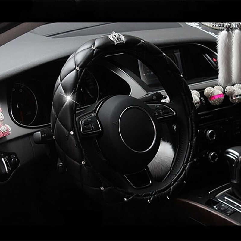 38 センチメートル高級クリスタルクラウン車のステアリングホイールカバー長安 cs35 cs75 、衆泰 t600 、 mg 6 mg3 、栄威 550 2010 2009 2008 2007