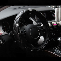 38cm Luxury Crystal Crown Car Steering Wheel Cover for nissan almera classic g15 n16 bluebird sylphy of 2010 2009 2008 2007