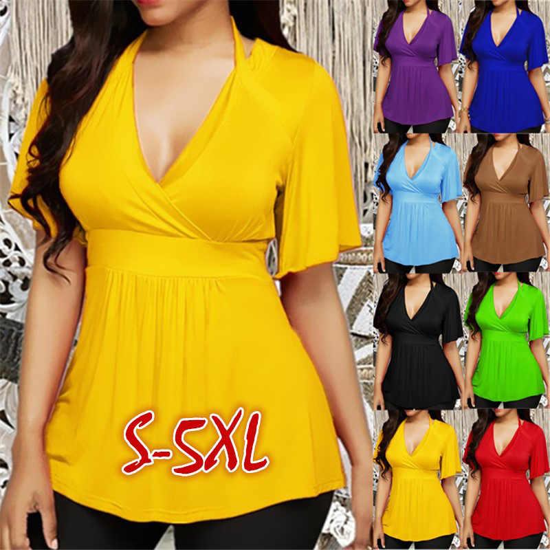 여성 딥 v 넥 짧은 소매 섹시한 티셔츠 여성 2020 봄 여름 패션 탑 플러스 크기 6XL 솔리드 아늑한 숙녀 티셔츠