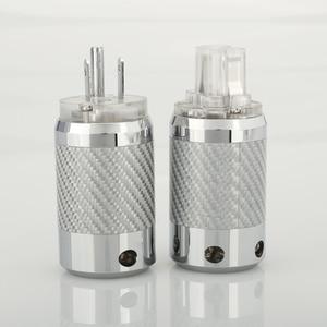 Image 5 - ПАРА углеродного волокна родиевое покрытие DIY AC Power Электрический штекер гнездовой разъем IEC EU US вилка