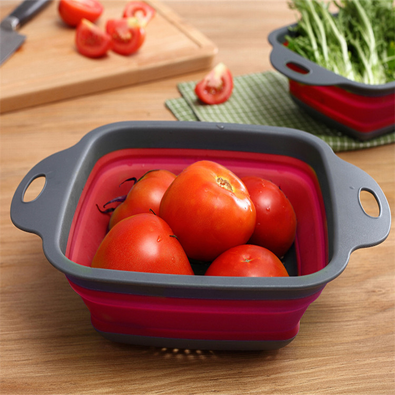 Square Draining Basket Collapsible Colander Silicone Kitchen Storage Bag Fruit and Vegetable Basket Folding Filter WF6151432