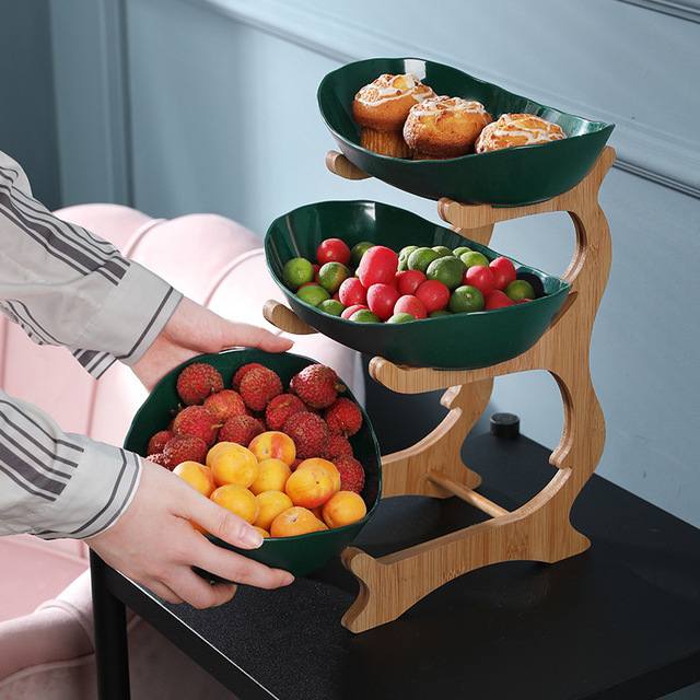 2/3 Tiers Plastic Fruit Plates With Wood Holder Oval Serving Bowls for Party Food Server Display Stand Fruit Candy Dish Shelves 2