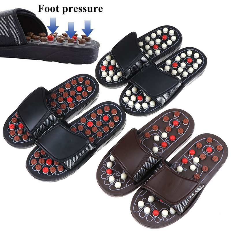 1Pair Unisex Acupoint Massage Slippers Sandal For Men Feet Chinese Acupressure Therapy Medical Rotating Foot Massager Shoes