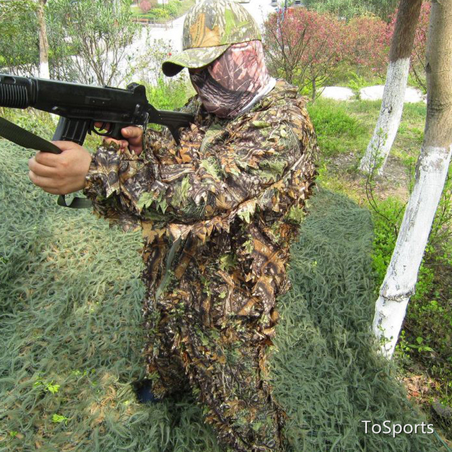 3D Leaf Camouflage Clothing Hunting Clothes New Bionic Suits Camouflage Clothing Jacket And Pants Polyester Oxford Fabric 2