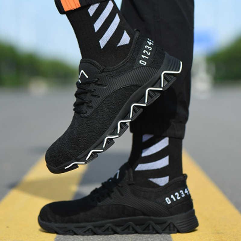Dropshipping เหล็กความปลอดภัยรองเท้าผู้ชายน้ำหนักเบา Anti-Crush ทำงาน Unisex Breathable สวมใส่รองเท้าผ้าใบทั้งผู้ชายและ wo