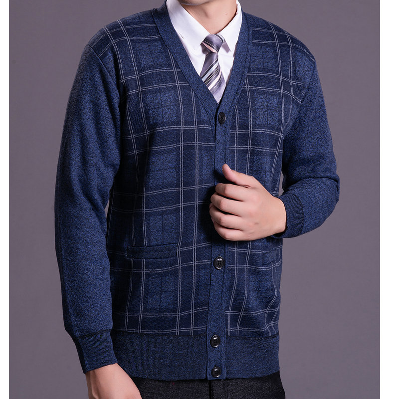 Men Autumn Winter Knitted Cardigans Mature Casual Plaid Blue Gray V-neck Warm Fleece Liner Sweaters Father Thicken Wool Knitwear
