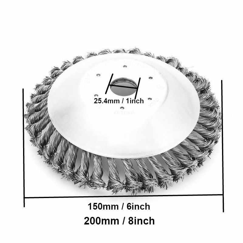 150mm/200mm פלדת חוט גוזם ראש דשא חותך מברשת אבק הסרת לנכש צלחת מכסחת דשא