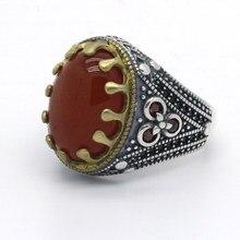 Onyx natural anel masculino 925 prata esterlina oval grandes anéis de pedra vermelha vintage lindo design antigo para mulher jóias turcas
