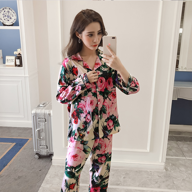 Autumn New Style Sweet Rose Model Silk Pajamas Women's Casual Fold-down Collar Long Sleeve Trousers Homewear Set