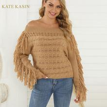 Kate Kasin Sweaters Off Shoulder Boat Neck Knitwea