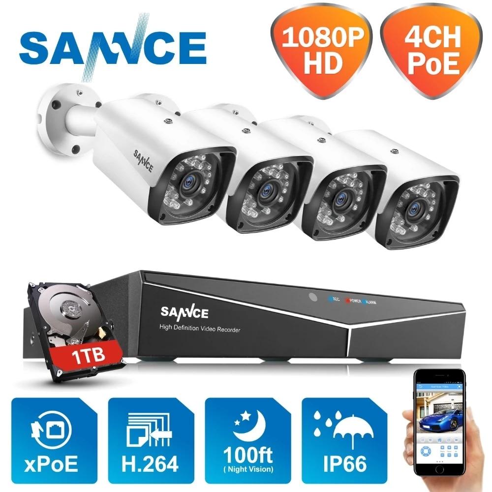 Система видеонаблюдения SANNCE, 4 канала, 1080P, HDMI, POE, NVR, 2 МП, ИК, IP66