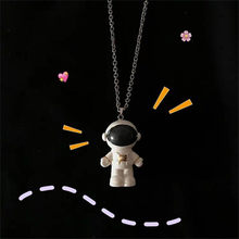 New simple cartoon spaceman astronaut doll doll pendant Super cute hip-hop child lovers couples long necklace(China)