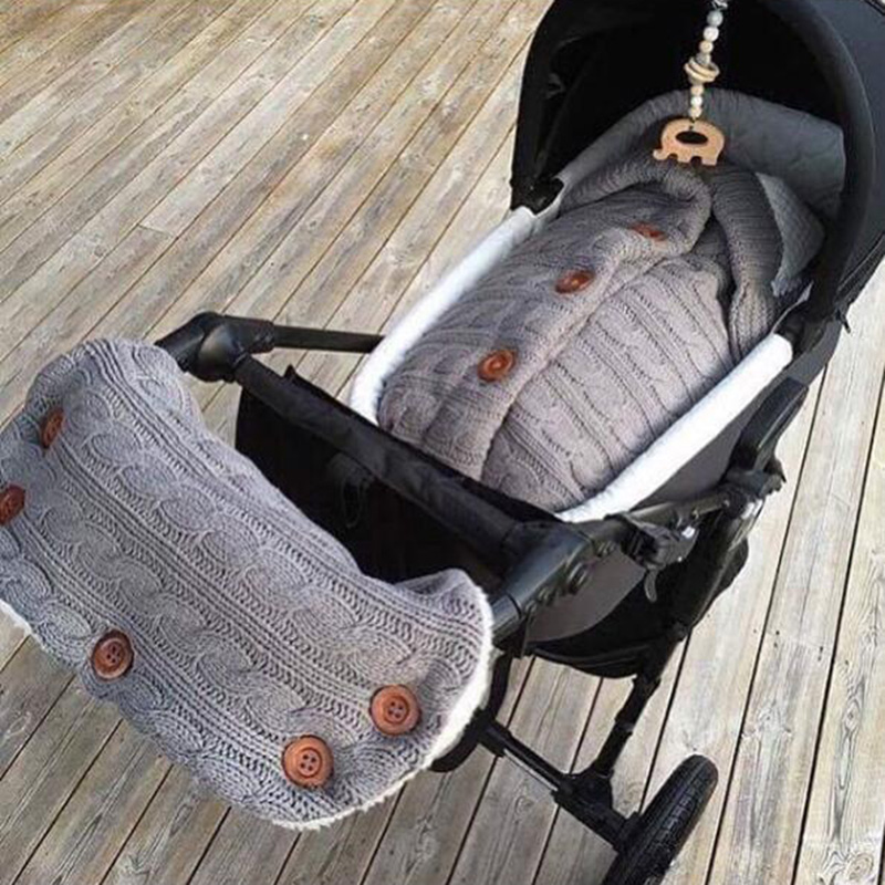 Baby Stroller Sleeping Bag And Stroller Gloves Newborn Knitting Autumn Winter Warm Sleepsacks For Footmuff Swaddle Wrap Slaapzak