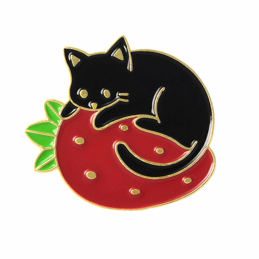 Lucu Bros Kartun Kitten Pelukan Strawberry Enamel Jaket Denim Bros Pin Kerah Lencana Perhiasan Unik untuk Gadis Hadiah Yang Sempurna